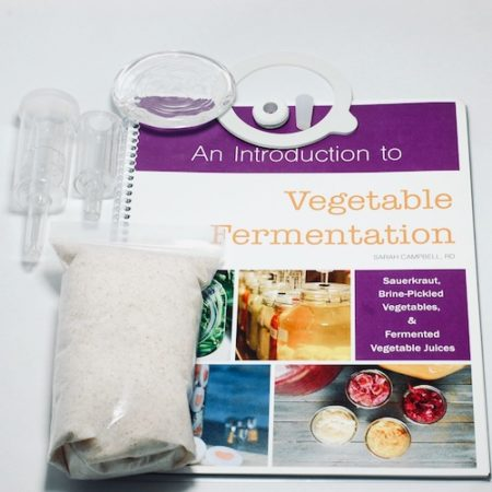 All add-on items - salt, gasket, plug, grommet, airlocks, and vegetable fermentation manual